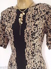 New M&S Tunic Bodycon Dress Size 8 10 12 14 Floral Lace Effect Black Gold Party