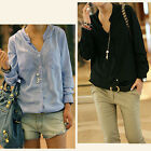 Fashion Women Causal Shirt Long Sleeve Cotton Ladies T-Shirt Top Blouses