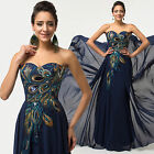 Womens Formal Ball Gown Evening Party Wedding Bridesmaid Maxi Long Peacock Dress