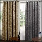 Del Faux Velvet Ready Made Curtains Fully Lined Eyelets Rings Metallic Two Tone