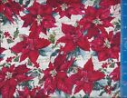 Holiday Winter Christmas Poinsettia Holly Fabric Crafting, Quilting YOUR LENGTH