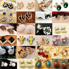 Fashion Elegant Women Crystal Rhinestone Flower Heart Ear Stud Earrings Jewelry