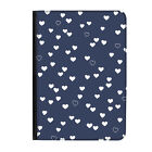 """Blue Hearts Pattern Love Navy Universal Tablet 9-10.1"""" Leather Flip Case Cover"""