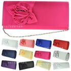 Ladies Pleated Satin Floral Pattern Wedding Party Prom Evening Clutch Bag