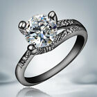 Fashion Black Gold Stainless Steel & Titanium Cubic Zirconia Xmas Jewelry Ring