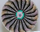 FANCY John DEACONS Twisted  20 RIBBON & LATTICINO Crowned ART Glass PAPERWEIGHT