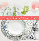 Elegant Wedding Party Disposable Plastic Plates Hammered White-Silver-Clear