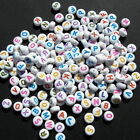 10 & 500 WHITE FLAT ROUND ACRYLIC COIN ALPHABET LETTERS IN COLOUR - 7mm
