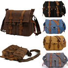 Kyпить Men's Vintage Canvas Leather Satchel School Military Shoulder Bag Messenger  на еВаy.соm