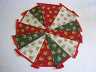 Hand Made 6ft /10 Flag Christmas Fabric Bunting Garland Ceiling Decoration Bell