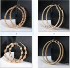 New Gold Women Fashion Hoop Dangle Earrings Hook Round Circle Hoops Charm