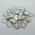 Sparkly Glitter AB Square Shape Resin Acrylic Rhinestone Silver Flat Back 10mm