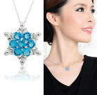 XMAS Gift Crystal Snowflake Frozen Flower Silver Plated Necklace Pendant HSU