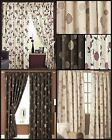 Ross Lined Curtains Floral Flowers Allium Leaves Ready Made Pair Pencil Pleat