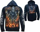 Grim Reaper Hell Time Glow In Dark Tattoo Goth Zip Zipped Hoodie Hoody Jacket