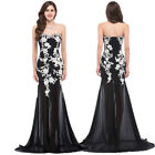 Lady Appliques Mermaid Evening Formal Party Dress Long Chiffon Prom Pageant Gown