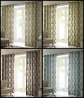 Grove Lined Eyelet Curtains Ready Made Pair Winter Trees Nature Ring Top