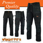 Men Work Cargo Trouser Black Pro Heavy Duty Multi Pockets & Knee Pad Pockets LOT