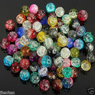 Kyпить Hot Glass Mixed Round Crackle Crystal Charms Beads Jewelry Making 4/6/8/10/12mm на еВаy.соm