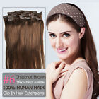 Clip In Chestnut Brown Hair Extensions 100% Human Hair Straight #6 15''-30''