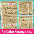 Wedding Invitation, RSVP & Gift Poem Card Sample Pack *Pastel Bunting