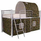Cabin Metal Loft Bed Frame With Optional Single 3ft Mattress Boys Army Camo