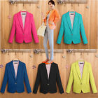 AU New Ladies Long Sleeve Casual Suit Coat Jacket Slim Fit Blazer TOP Size Candy