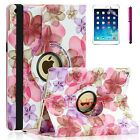 For Apple iPad Air 1 - 360 Rotating Premium PU Leather Smart Case Flower Pink