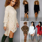 Women Long Sleeve Oversized Ladies Knitted Long Sweater Jumper Winter Dress 6-14