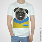 Ukraine Football Pug T-shirt Ukrainian Puppy Dog Tshirt Pugs 2016 European Tee