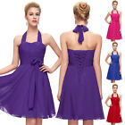 New Short Halter Formal Prom Party Ball Bridesmaid Gown Cocktail Evening Dress