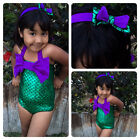 Girls Little Mermaid Bikini Suit Swimmable Swimming Costume Swimsuit Swimwear