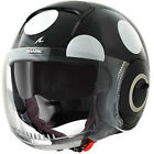 SHARK NANO COXY BLACK WHITE OPEN FACE MOTORCYCLE SCOOTER HELMET WITH VISOR