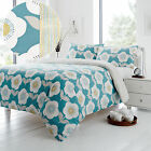 A Fresh & Retro Touch! Floral Duvet Cover Set in Teal Blue & Yellow - Reversible