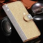 Bling Magnetic Diamond Crystal Wallet Card Flip Leather Case Cover For iPhone