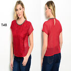 T48 Womens Plus Size Sexy Lace T-Shirt Casual Party Short Sleeves Blouse Tops