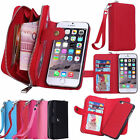 Luxury Leather Purse Wallet Card Case Cover Wristlet Zipper for Apple Samsung