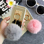 Mirror 3D Warm Fuzzy Fluffy Fur Metal Hand Ring Case Cover For Mobile Phones