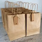 Paper Kraft Brown Bag Twisted Handles Gift Tag Party Loot Wedding Favour 18x22cm
