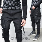 Big Cargo Strap Mens Black Kangaroo Pocket Baggy Cuff Jogger Sweat Pants Guylook