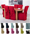 Fabric Slipcovers for Scroll Top High Back Leather Oak Dining Chairs Seat Covers