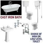 Traditional Cast Iron Bath Suite Roll Top Freestanding High Or Low Level Toilet