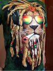 Rasta smoking weed lion of jah tshirts. dreadlock 3025 ganja graphic. M - XXL