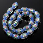 1 String Colorful Lampwork Glass Oval Rice Rose Flower Loose Beads Jewelry DIY