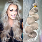 100g Shining Grey Wavy Hair Weft Natural Blend Golden Gray Human Hair Extensions