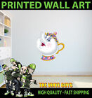 PRINTED WALL ART MRS POTTS BEAUTY AND THE BEAST GRAPHIC STICKER KIDS BED ROOM
