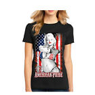 New Fashion women's T Shirt USA patriot Flag Casual T Top Short Sleeves