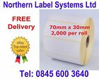 70mm x 30mm White Labels for Zebra, Citizen, Toshiba etc