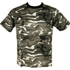 MENS URBAN CAMO T-SHIRT 100% COTTON BLACK WHITE GREY CAMOFLAUGE FISHING