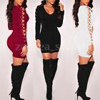 UK Womens Lace Up Long Sleeve Bandage Clubwear Bodycon Party Evening Mini Dress